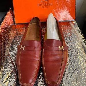 HERMES Slip On Shoe Red Men 41 US 8 Loafer Vintage